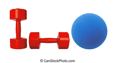 Red dumbbells fitness and blue ball isolated on white