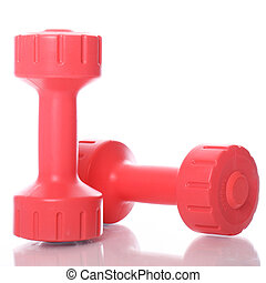 Red dumbells over white background - Small red dumbells over...