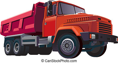 Detailed vectorial image of large european dumper, isolated on white background. Contains gradients and blends.