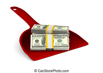red dustpan with money on white background. Isolated 3D...