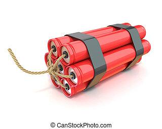 Red dynamite sticks - TNT with wick. 3D render illustration...