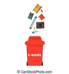 Red E-Waste Bin White Background Vector Image