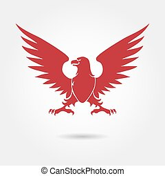 Red eagle heraldic style silhouette