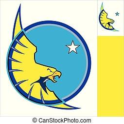 Red  Eagle on white circle, eagle mascot