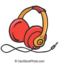 earphones - red earphones cartoon illustration