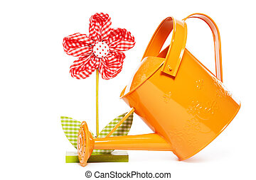 red easter drape flower with a orange watering can on white ...