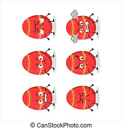 Red easter egg cartoon character with various angry expressions