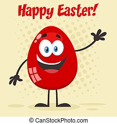 Red Easter Egg Cartoon Mascot Character Waving For Greeting. Vector Illustration