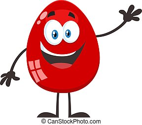 Red Easter Egg Cartoon Mascot Character Waving For Greeting Vector Illustration