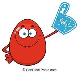 Red Easter Egg Cartoon Mascot Character Wearing A Foam Finger