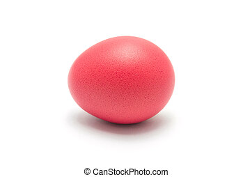 Red easter egg isolated on white