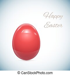 Red Easter Egg Isolated on White Vector