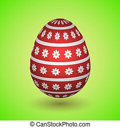 Red Easter Egg with Flowers and stripes