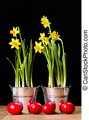 Red Easter eggs and yellow daffodils