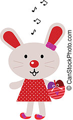 Red easter singing bunny isolated on white