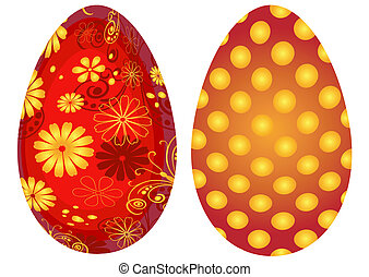 Red Easter`s eggs isolated on white background (vector)
