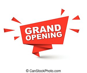 red easy vector illustration isolated paper bubble banner grand opening. This element is well adapted for web design.