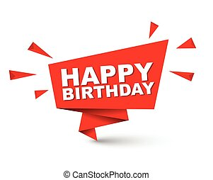Red easy vector illustration isolated paper bubble happy birthday. This element is well adapted for web design.