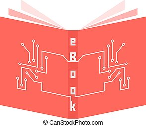 red ebook icon with pcb elements. concept of ereader,...