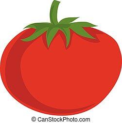 Red eco tomato icon, cartoon style