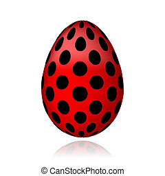 Red egg in black peas for your design