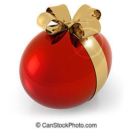 red egg with golden bow