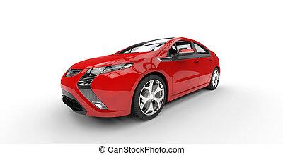 Red  Electric Car Closeup