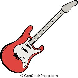 Red electric guitar icon cartoon