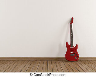 Red electric guitar in a empty room