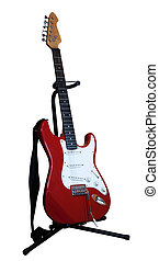 red electric guitar on a stand isolated on white background