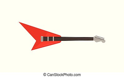 Red electric guitar, rock music instrument vector Illustration on a white background