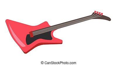 Red electric guitar vector cartoon illustration.