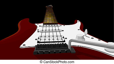 Red electric guitar.