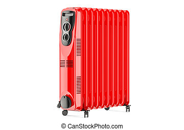Red electric oil heater, oil-filled radiator. 3D rendering