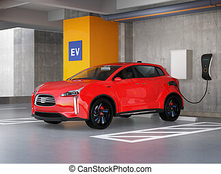 Red electric SUV in parking lot - Red electric SUV...