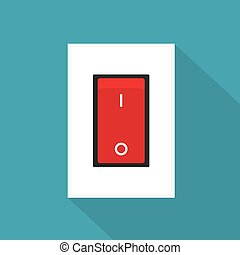 red electric switch icon- vector illustration