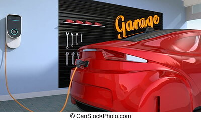 Red electric vehicle charging in residential garage. 3D...