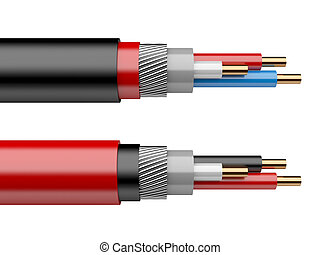 electrical cable - red electrical cable isolated on a white...