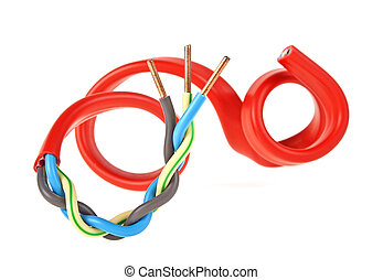Red electrical cable isolated on white background