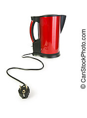 Red electrical kettle isolated on white
