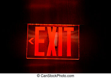 Red electronic exit sign