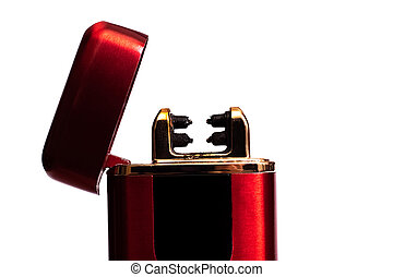 Red electronic lighter isolated on a white background