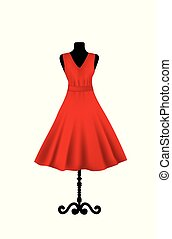 Red elegant dress on mannequin