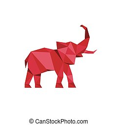 Red Elephant standing with trunk up Polygon style Animal...