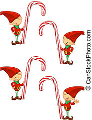 Red Elf - Holding Candy Cane - A cute cartoon red elf with 4...