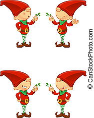 Red Elf - Holding Mistletoe - A cute cartoon red elf with 4...