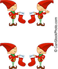 Red Elf - Holding Stocking - A cute cartoon red elf with 4 ...