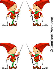 Red Elf - Needle & Thread - A cute cartoon red elf with 4 ...