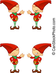 Red Elf - Presenting - A cute cartoon red elf with 4...