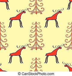 Red elk or deer in the spruce forest